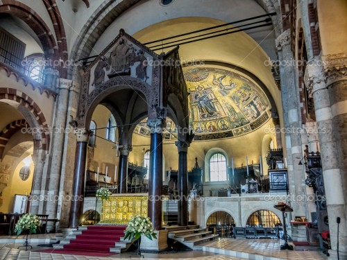 Altar in Basilica of Sant Ambrogio, Milan, Lombardy, Italy