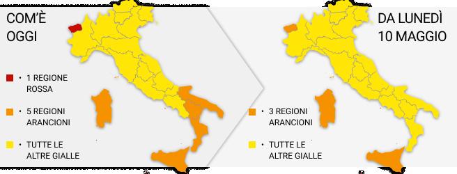 Così riapre l'Italia in giallo (tranne tre regioni in arancione). «Massimacautela»