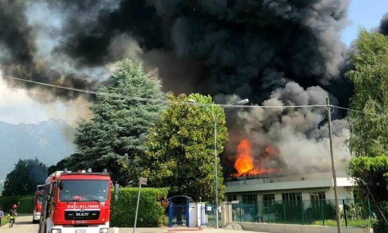 Incendio in una fabbrica di vernici nel Pinerolese:….